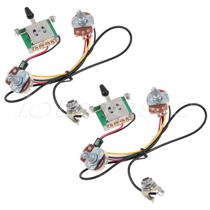 2Sets Two Pickup Guitar Wiring Harness,3 Way Blade Switch 500K,Great with Humbuckers bead