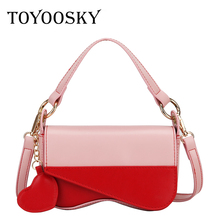 TOYOOSKY Harajuku Style Square Bag Women Fashion New Handbags Panelled PU Leather Sweet Girls Shoulder Messenger