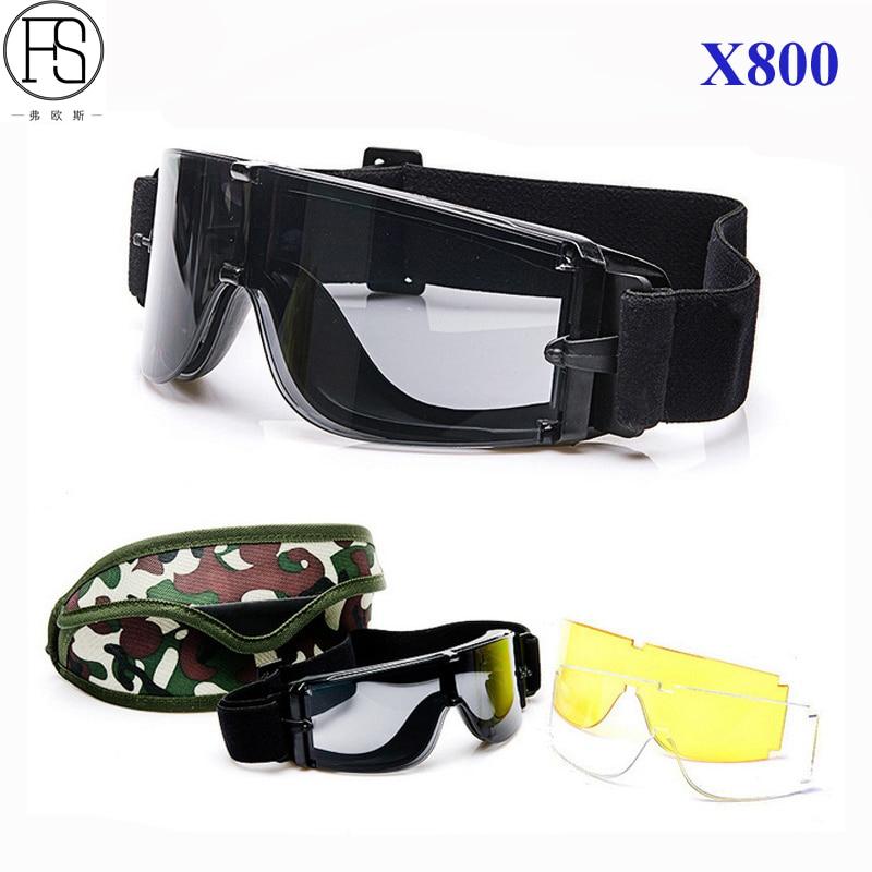 6d8a0a5dd0 Gafas tácticas militares Airsoft Shooting X800 gafas a prueba de viento  ejército Paintball gafas con 3 lentes gafas tácticas
