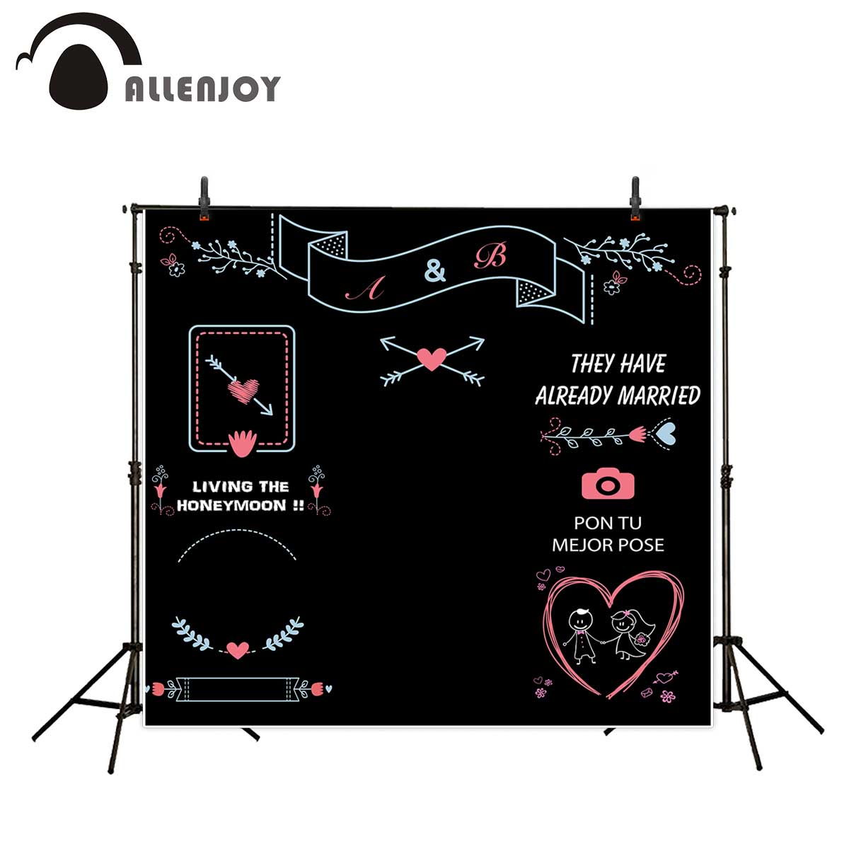 Allenjoy photographic background Custom cartoon black love wedding new backdrop photocall photo print customize excluding stand allenjoy diy wedding photography background romantic love wood board custom name date phrase backdrop photocall
