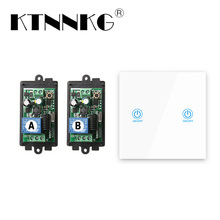 433MHz 1CH Remote Light Switch Kits Wireless Relay Receiver Module with 86 Touch Transmitter RF Tempered Glass AC 85V 110V 220V стоимость