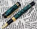 Мраморная целлюлоидная перьевая ручка 22KGP  средний наконечник для письма  подарочная ручка  Зеленый цветочный узор и зажим под крокодила  оф...