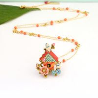 2018 New Handmade Enamel Sparrow Bird House Love Rose Necklace Clavicle Chain Long chain Summer Women Jewelry Accessories Valen