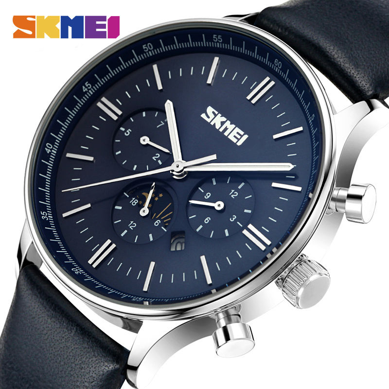 SKMEI Fashion Watches Men Business Quartz Wristwatches 30M Waterproof Casual Leather Brand Casual Watch Relogio Masculino 9117