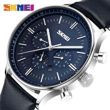 SKMEI Relojes de pulsera para hombre, de cuarzo, de negocios, resistente al agua hasta 30M, informal, de cuero, Masculino, 9117