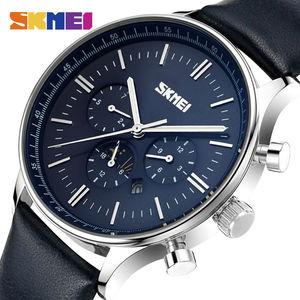 Image 1 - SKMEI Relojes de pulsera para hombre, de cuarzo, de negocios, resistente al agua hasta 30M, informal, de cuero, Masculino, 9117
