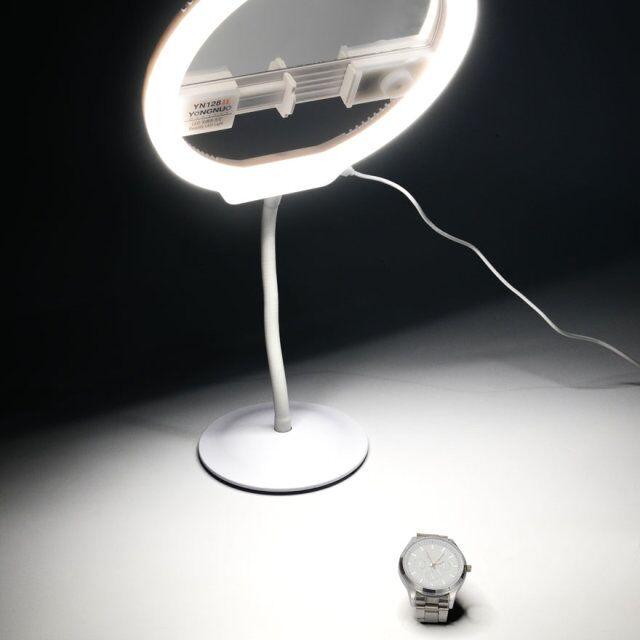 YONGNUO обновлен YN128 II фотографии СВЕТОДИОДНЫЙ Кольцо селфи свет с зеркалом макияж украсить видео Лампа для iPhone X DSLR Live поток