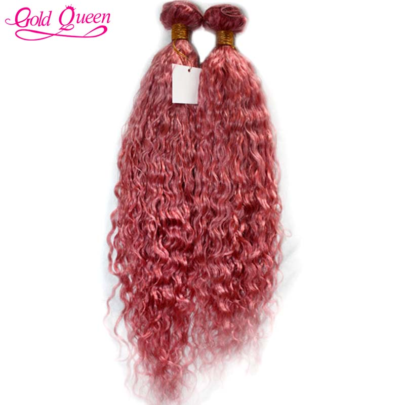 2016 new hot pink human hair weave 2pcs/lot brazilian water wave virgin hair extension beautiful bulk hair pink weave bundles