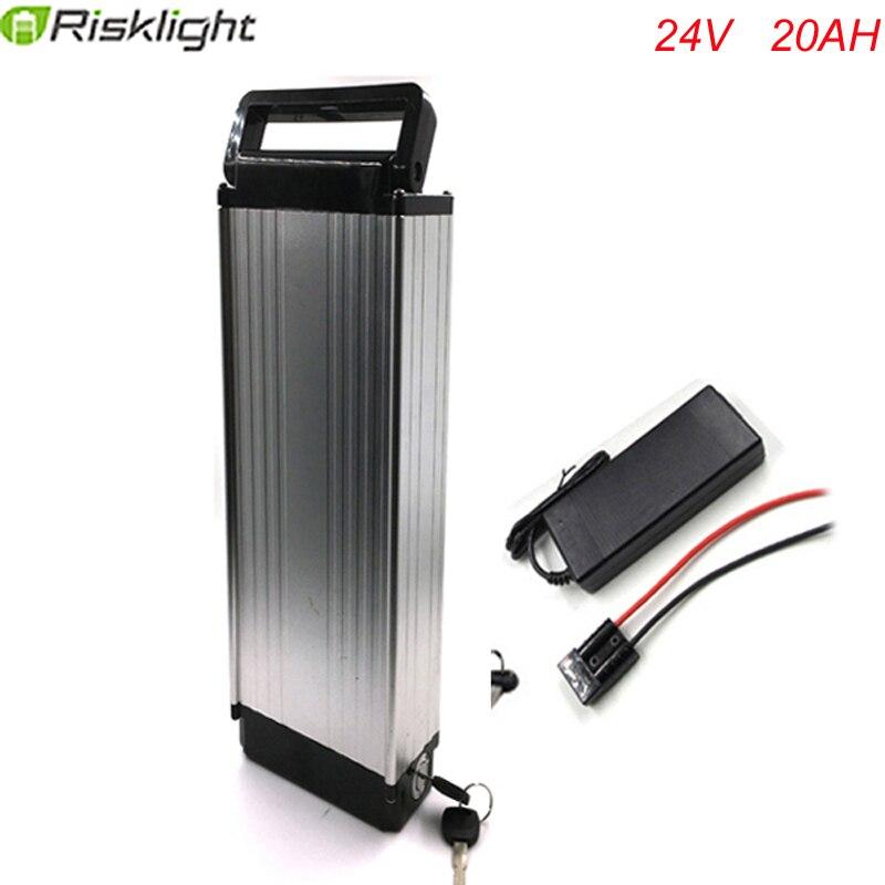 Сзади стойки 24 В 20Ah Ebike литиевая Батарея 24 В 250 Вт 18650 Батарея с 2A Зарядное устройство бренд BMS Алюминий случай сплава