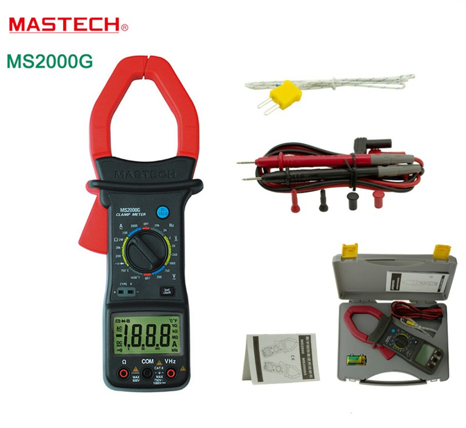 2018 New Digital Clamp Meter MASTECH MS2000G Current AC/DC Voltage Resistance Frequency Temperature Tester Multimeter Multimetro auto range handheld 3 3 4 digital multimeter mastech ms8239c ac dc voltage current capacitance frequency temperature tester