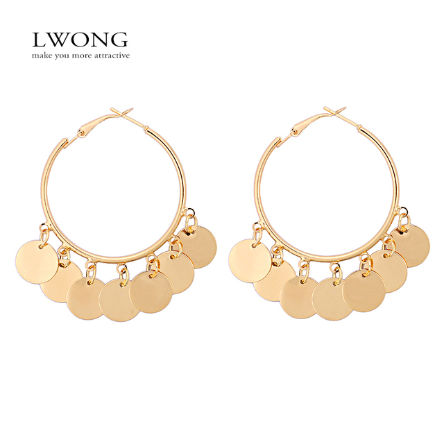 Lwong New Fashion Gold Color Hoop Earrings With Hanging Coins Multi Disc Gypsy Bohemian Circle