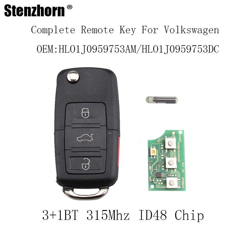Stenzhorn 3 + 1 Tasten 315 mhz Remote Key Fob Für VW Jetta Passat 2002-2005 1J0959753AM Für VW volkswagen 1J0959753DC ID48 Chip