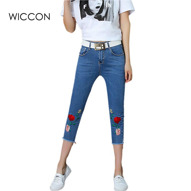 Embroidery Rose jeans denim casual Pencil pants capris straight skinny jeans slim women bottom trousers 2017 Summer WICCON flower embroidery jeans female blue casual pants capris 2017 spring summer pockets straight jeans women bottom a46