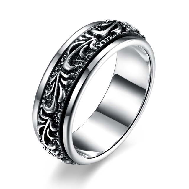 GOMAYA Carving Flower 925 Sterling Silver Rings Gothic Vintage Rock Punk Cocktail Fine Jewelry for Men and Women Anillos