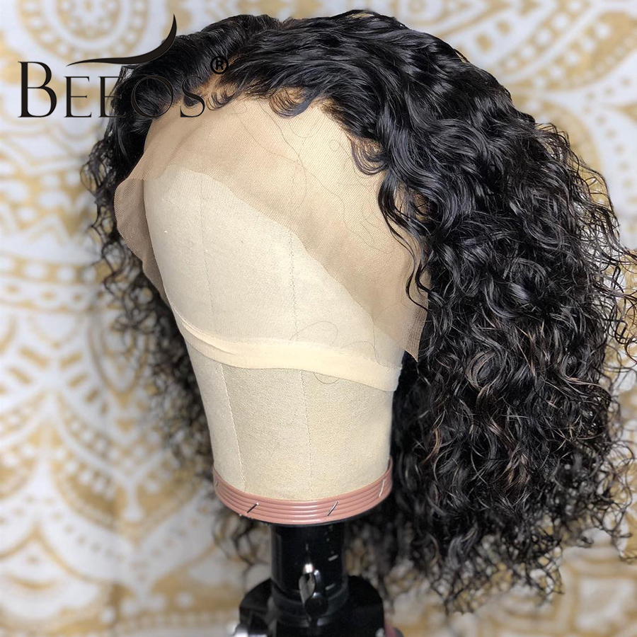 Beeos Brazilian Remy 13*6 Curly Lace Front Human Hair Wigs Short Bob Wig With Preplucked Hairline For Black Women Natural Black-in Human Hair Lace Wigs from Hair Extensions & Wigs    3