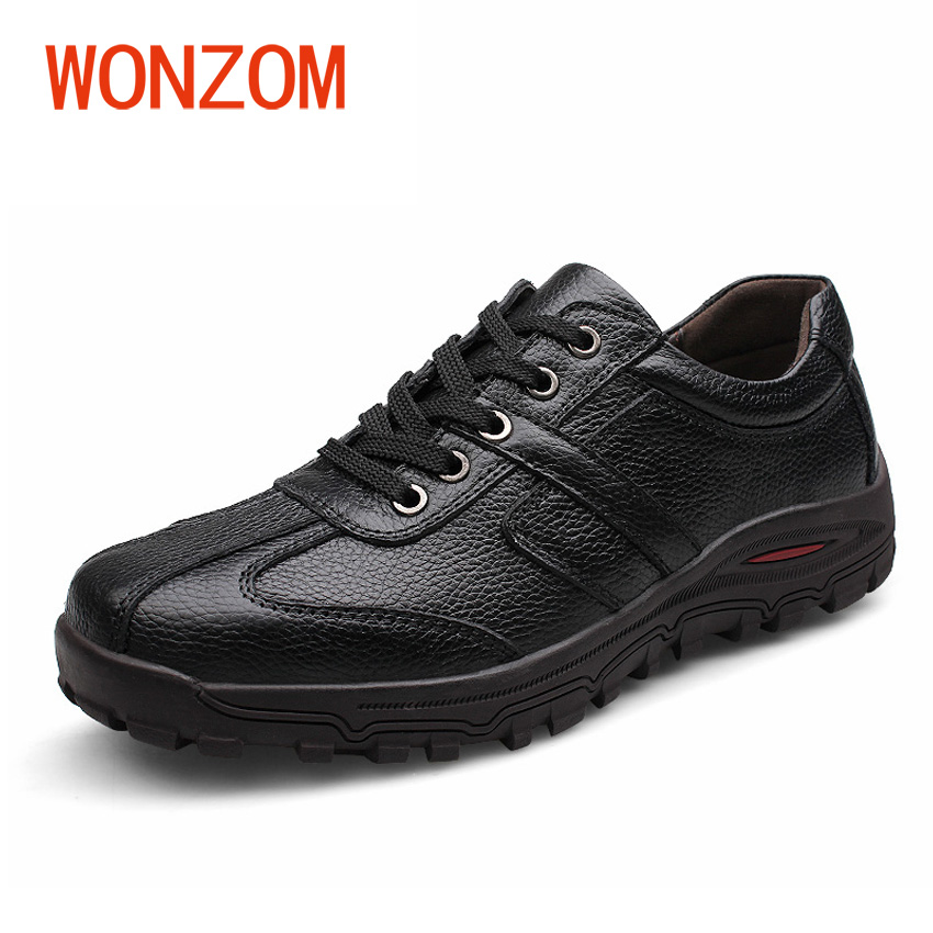 WONZOM Fashion Men Hand-made High Quality Cow Leather Flats Shoes Man Brand Genuine Leather Soft Male Moccasins Big Size 38-48 cbjsho brand men shoes 2017 new genuine leather moccasins comfortable men loafers luxury men s flats men casual shoes