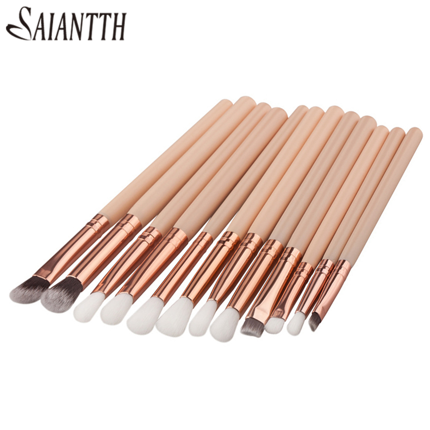SAIANTTH 12pcs Eyes  Makeup Brushes Set Tool Make Up Toiletry Kit Wool Brand Pincel Maleta De Maquiagem Nose Shadow Eyeliner Lip
