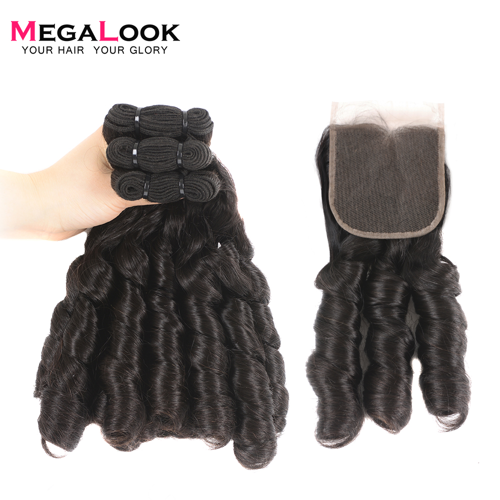 Megalook Double Drawn Nigeria Curl 100 Human Hair Bundles with Closure Funmi Natural Color Remy Weave