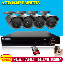 8CH CCTV System HDMI Network DVR 4PCS 960P IR CCTV Camera Home Security System Surveillance Kits 1TB HDD