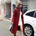 Inverno Quente Jaqueta de Algodão Acolchoado Mulheres Casaco Longo Fino Único Breasted Senhoras Outwear