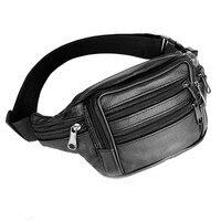 Men Leather Waist Pack Solid Color Fanny Pack Bum Adjustable Belt Bag Pouch Travel Hip Handbag
