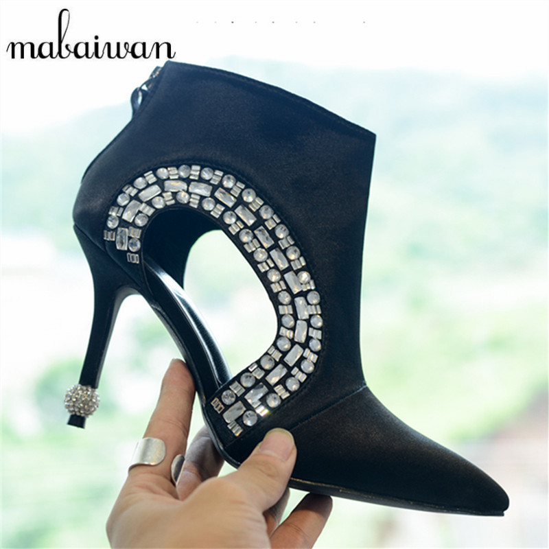 Rhinestone Women Ankle Boots Pointed Toe Strange Heel Booties Hollow Out Women Pumps Summer Boots High Heels Bota Feminina strange heel women ankle boots genuine leather elastic booties wedge shoes woman high heels slip on women platform pumps