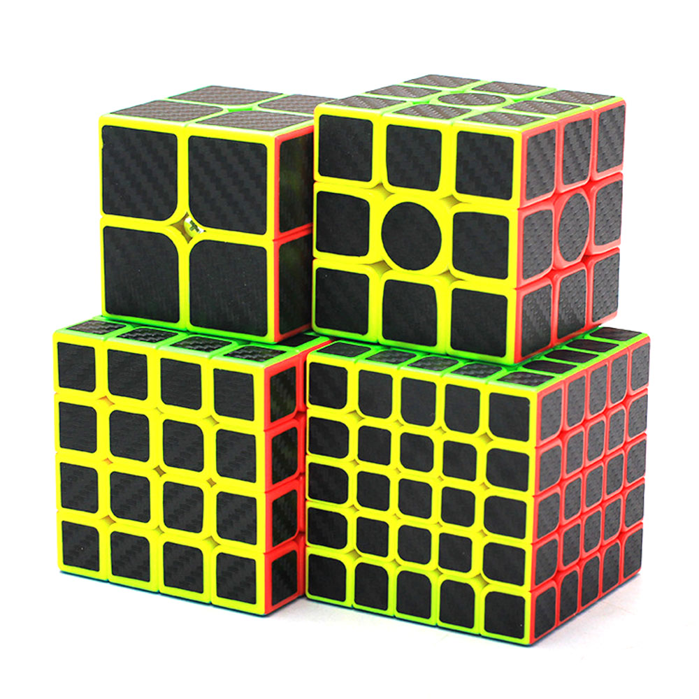 4Pcs Zcube Black Knight Cube Set 2x2x2 3x3x3 4x4x4 Magic Cubes Puzzle Speed Rubiks Cube Educational Toys Gift for Kids Children