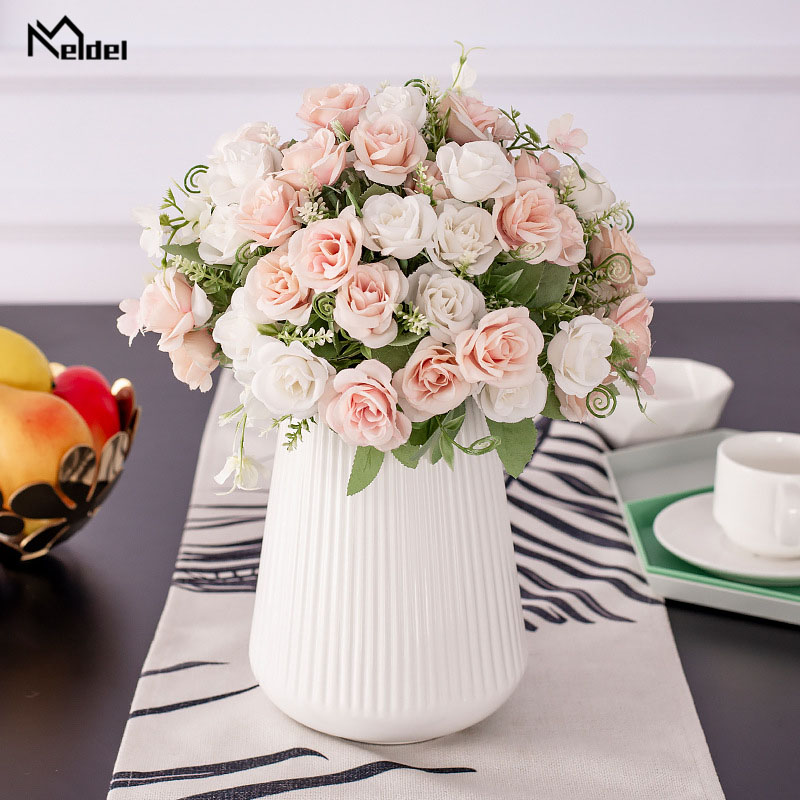 Meldel Bridesmaid Bouquet Bridal Wedding Bouquets Bunch of Flowers Wedding Flower Pink Rose DIY Mariage Home Party Decorations