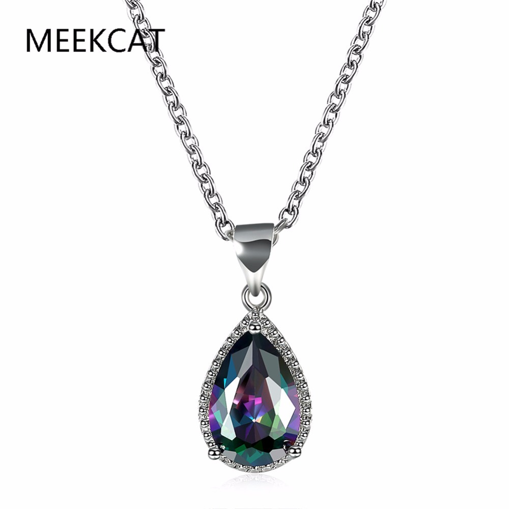 MEEKCAT water drop crystal pendant necklace for women engagement gift silver color rainbow stone colorful fashion jewelry Colar