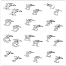 MMS Silver-color 26 Letters Cufflinks A B C D E F G H I J K L M N O P Q R Mens Shirt Accessories High Quality Cufflinks Brand(China)