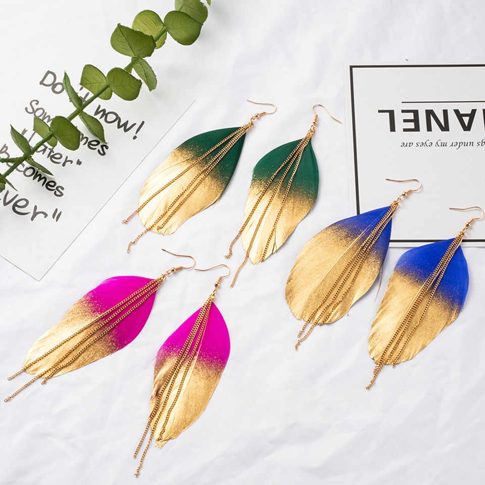 6 Cores de Moda Jóias Dois fluorescente Dupla Cor Exotic Dangle Eardrop Brinco Longo De Metal Borla Brincos de Penas para As Mulheres
