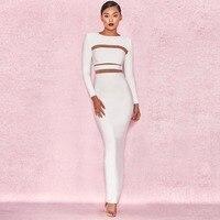 New Arrival Ladies HL Bandage Dress Long Sleeve Floor Length Bodycon Dress Sexy Celebrity Fashion Dress
