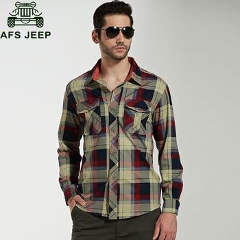 ec20ec2862d3edd Afs джип бренд рубашка Для мужчин Рубашки домашние муж. 100% хлопок плед  Для мужчин