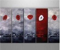 5 Panel Handgeschilderd Acryl Bloemen Schilderijen Kunst Foto Abstracte Rood Witte Bloem Olieverf Modern Home Decor Kunstwerk