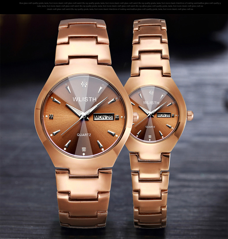 WLISTH Men Watch Tungsten Steel Lovers Rose Women Couple Watches Chinese-English Calendar Quartz Clock Waterproof Couple Watch