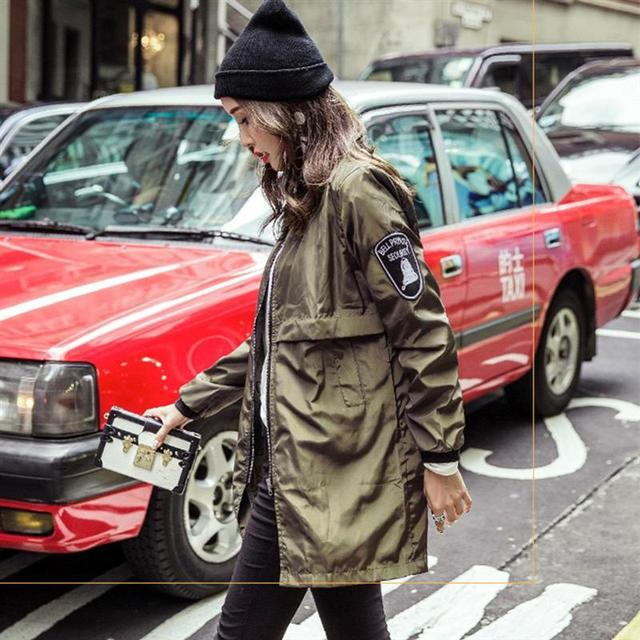 Women Basic Coats Spring Autumn Bomber Jacket Army Green Casual Harajuku Style Outwear Thin Long Slim Baseball Jacket