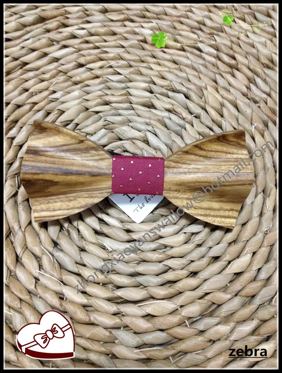 New Hot Selling Christmas Gift Accessories Luxury Purple Zebra Wood Bowtie Men Bow Tie Silk Ties