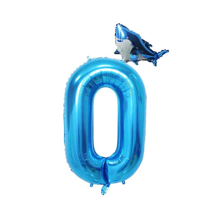 2 pcs Bebê Tubarão 40 polegada Azul Balão Número Foil Balões da Festa de Aniversário da Festa de Aniversário Decoração Varanda Do Chuveiro de Bebê Menino baloon