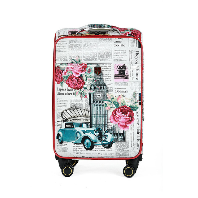 Print suitcase hot sales women Flower PU leather portable trolley case, new style, travel luggage, lock, mute,Spinner Wheels 16