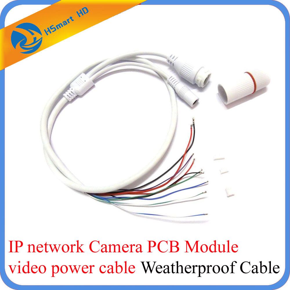 CCTV IP Network WiFi HD Camera PCB Module video power Weatherproof Cable RJ45 female & DC male White 10pcs cctv ip network camera pcb module video power cable 60cm long rj45 female