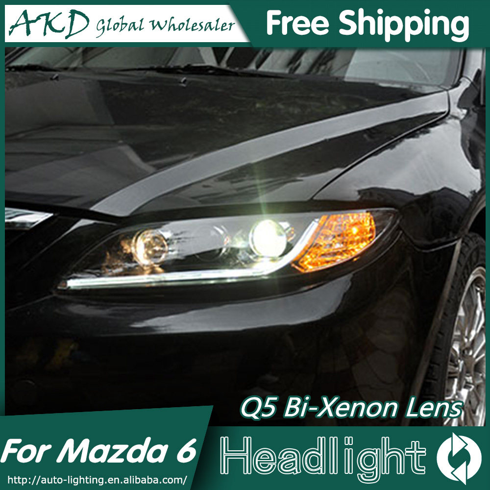 AKD Car Styling for Mazda 6 Headlights 2004-2013 Mazda6 LED Headlight Universal Type DRL Bi Xenon Lens High Low Beam Parking akd car styling for nissan teana led headlights 2008 2012 altima led headlight led drl bi xenon lens high low beam parking