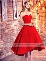 Красивый Красный Милая Атласная Короткие Платья Выпускного Вечера 2017 Изящные Высокий Низкий Длиной до колена Lace-Up Party Dress Vestido Де гала-Пользовательские
