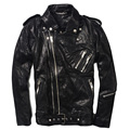 FREE SHIPPING 2017 New Black Men Slim Fit Leather Motorcycle Jacket Genuine Sheepskin Double Diagonal Zipper Winter Biker Coat