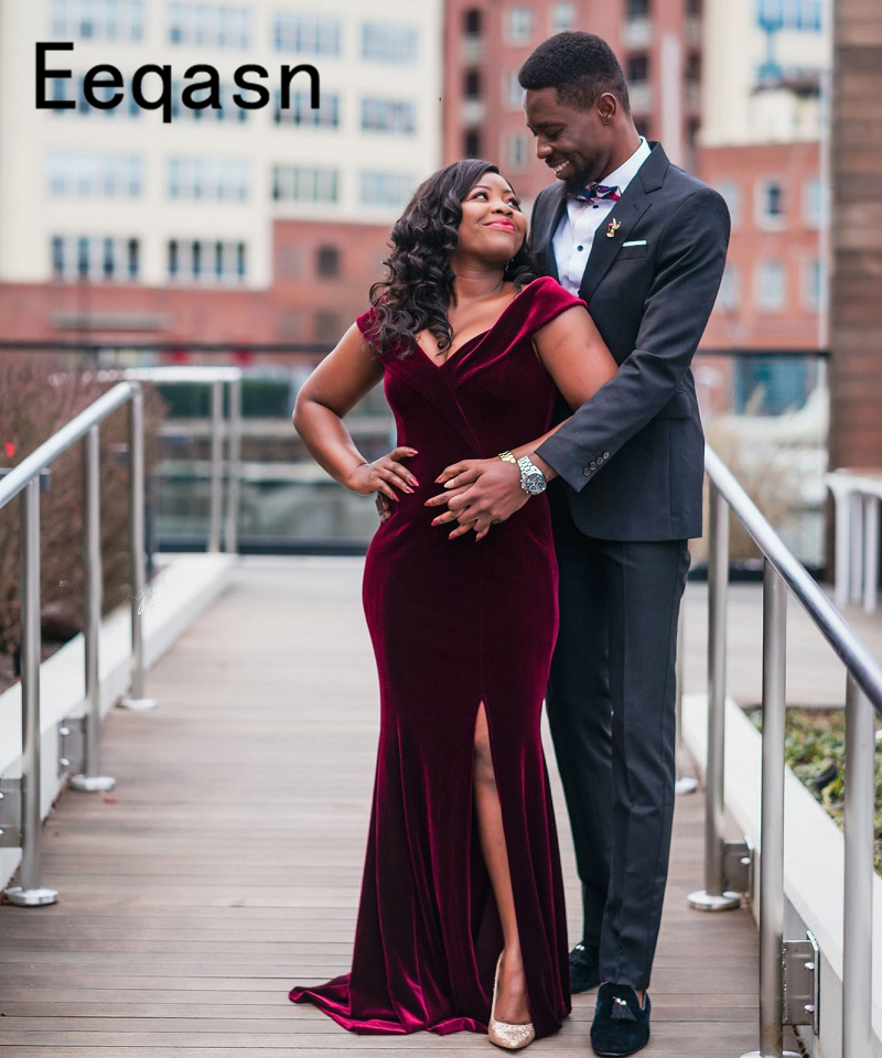 Burgundy Mermaid Long Prom Dresses 2019 Sexy V Neck Split Velvet Custom Made Fashion Brithday African Evening Party Gowns Attractive Designs;