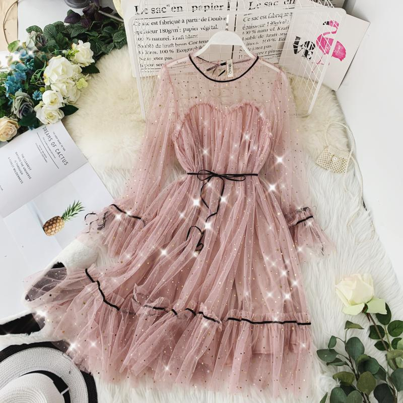 HISUMA spring autumn new women Star sequins gauze flare sleeve lace-up Princess dress female elegant o-neck mesh puff dresses 25