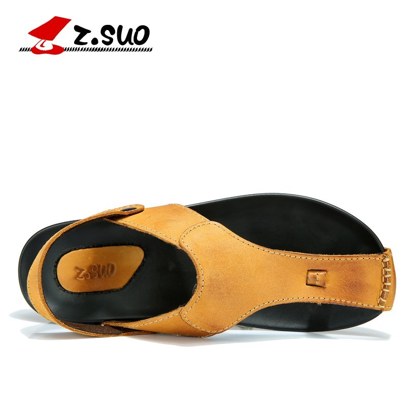Z Suo Men s Slippers Leisure Fashion Breathable Comfortable British Style Leather Sandals Summer Flip flops