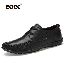 Handmade genuine leather men flats shoes,Soft loafers shoes,Plus size shoes driving Dropshipping