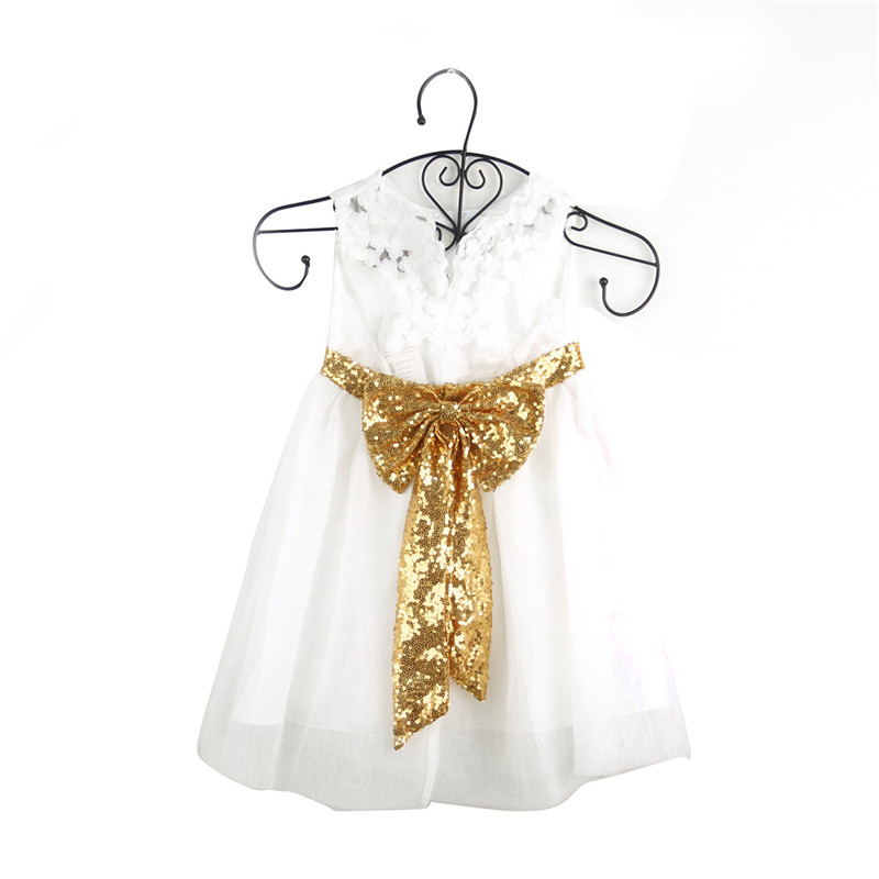 fashion summer girls sequin big bow sleeveless dress baby girl princess party dresses lace patchwork tutu dress size 18M-5T ems dhl free summer new girls princess dress lace bow v back tulle gauze sequin sparkle sleeveless tiers pearls beaded dress