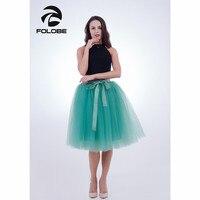 FOLOBE Green 7 Layers Midi Tulle Skirt American Apparel Tutu Skirts Womens Petticoat Elastic Belt Faldas