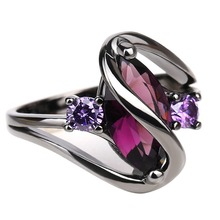 hot deal buy hot fashion luxury vintage purple zircon cz crystal colorful rings for women wedding engagement jewelry stainless steel rings